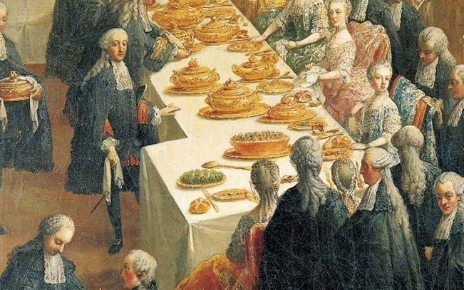 لوحة المحكمة في قصر شونبرون وعام 1760 ويظهر خبز كايزر